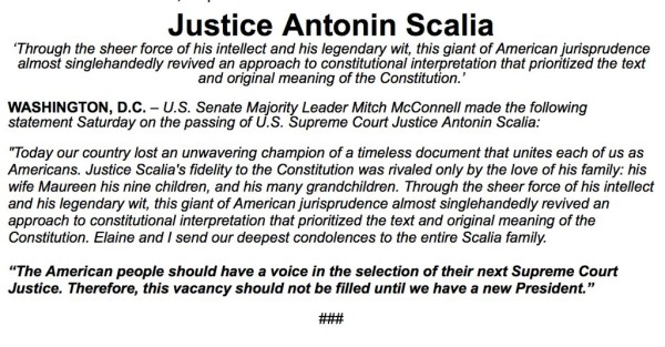 Statement from Mitch McConnell